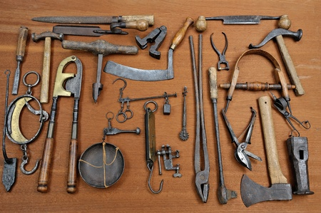woodworking: a group of old tools used
