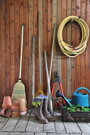 gardening tools: a garden shed with all the tools of the gardener Stock Photo