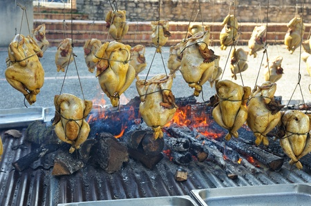 capon: chicken cooked over a wood fire