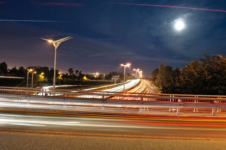 the ring road of the city of Bordeaux French, one evening in the moonlight  photo
