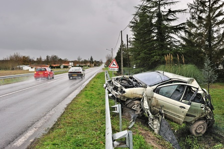 a car crashed into the ditch  photo