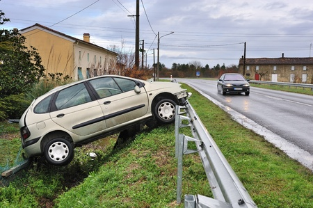 crashed: a car crashed into the ditch  Stock Photo