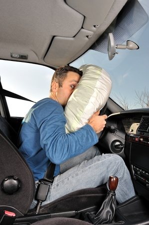 airbag: protection system for car drivers accident  Stock Photo