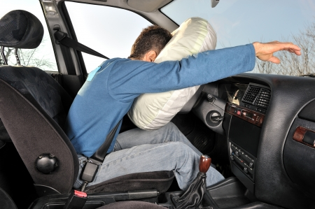 drive crash: protection system for car drivers accident   Stock Photo