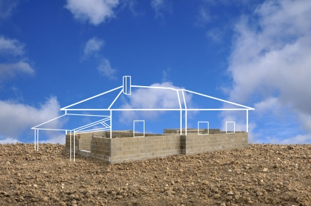 baustellen: projizieren, um ein Haus zu bauen Lizenzfreie Bilder