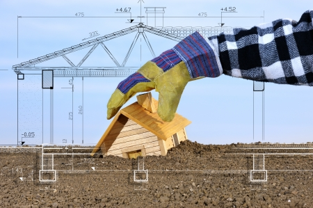 jobsite: a project to build, which emerges from the ground Stock Photo