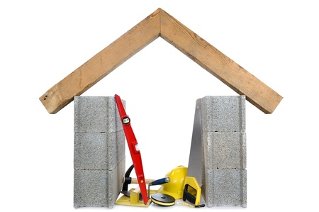 leveling: tools and materials of masonry Stock Photo