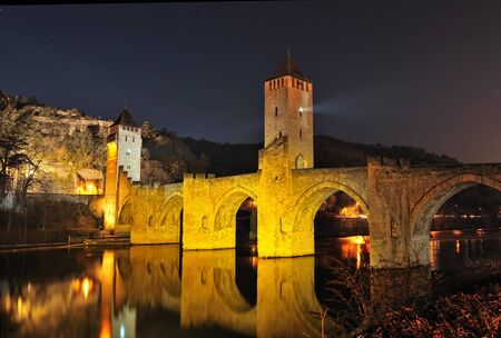 fortify: view of the old bridge (France, Cahors)    Stock Photo