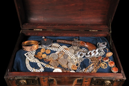 a trunk full of coins and precious jewelry Stock Photo - 14324080