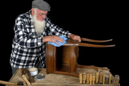 woodworker: small woodworking by a cabinetmaker in his workshop