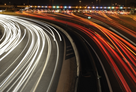 roadway: highway toll gate at night, in the south of France