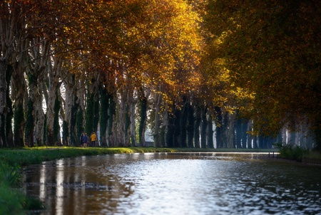 morning stroll on the Canal du Midi in France Stock Photo