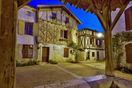 pujols: traditional street of a small village (Pujols, France) Stock Photo