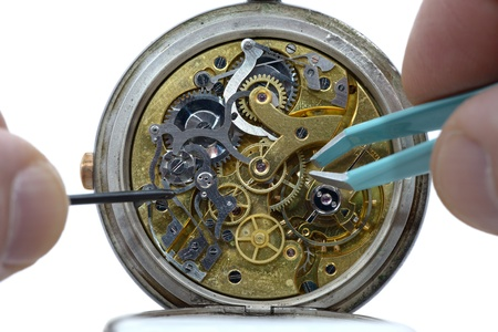 old watch: details of the mechanism inside an old watch