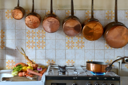 gas stove: Preparation and cooking vegetables in the kitchen Stock Photo