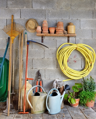 sheds: a garden shed with all the tools of the gardener Stock Photo