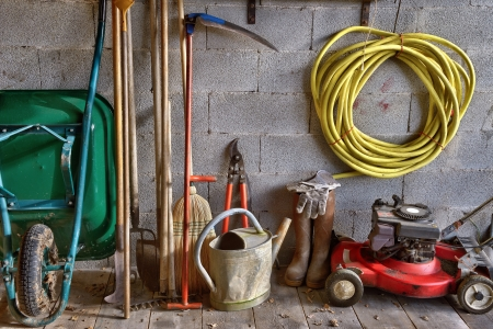 a garden shed with all the tools of the gardener photo