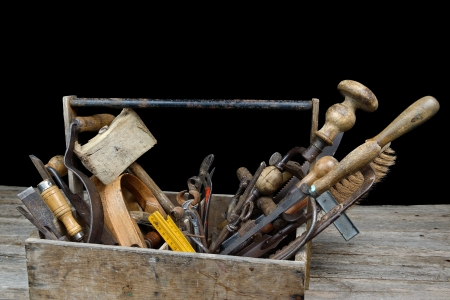woodworking: a box of old tools for woodworking