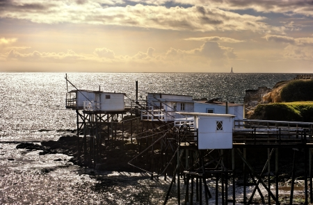 fishing huts: traditional fishermans hut in the south west of France, Royan