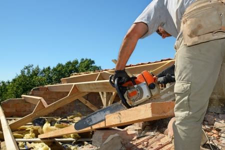 woodworker: a carpenter roofer who renovated the roof   Stock Photo