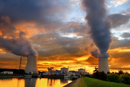 sunset on a French nuclear plant