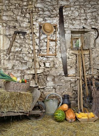 carretilla: herramientas antiguas almacenadas en el granero Foto de archivo