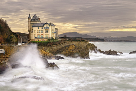 Seaside castle in Biarritz in the Basque region of southern France Editorial