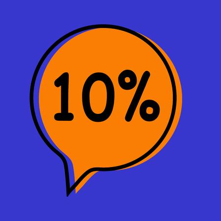 Sale orange tag. Vector illustration on blue background