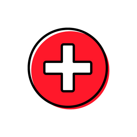 Plus button icon vector illustration