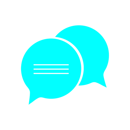 Chat icon; Dialog text; colored speech bubbles illustration.