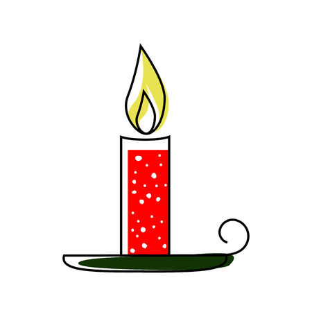 Christmas candle icon Çizim