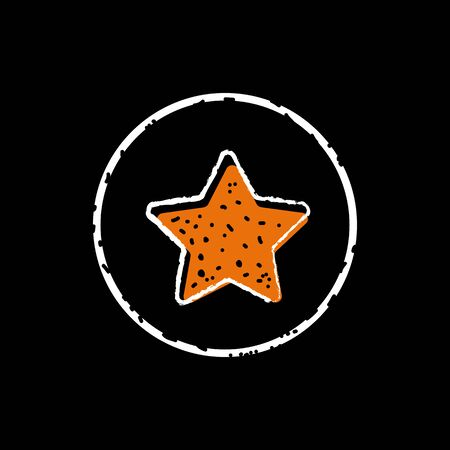 Yellow star button icon vector illustration on black background. Illusztráció