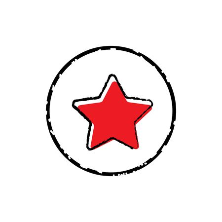 Red star button icon vector illustration on white background. Illusztráció