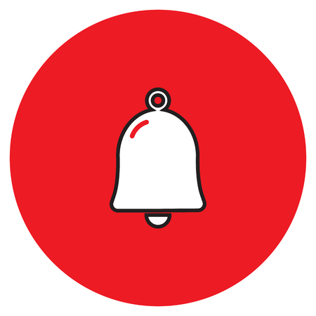 Bell icon vector illustration on the red background.