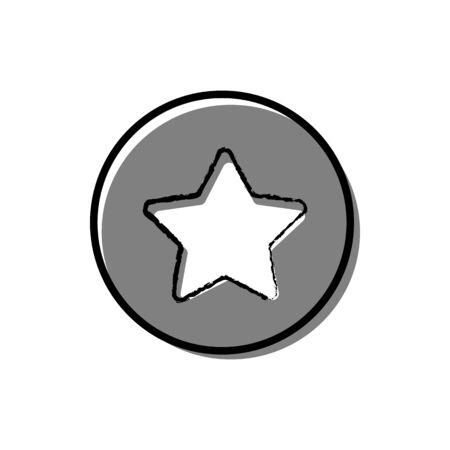 Red star button icon vector illustration on white background. Illusztráció