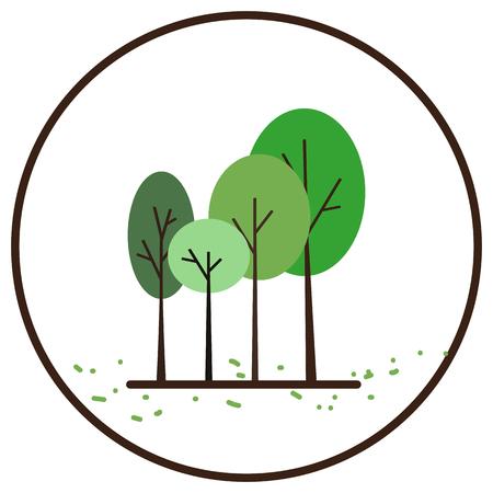 Tree icon in white circle with black border  illustration.