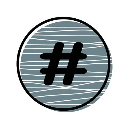 Hashtag sign icon in round frame. Illustration