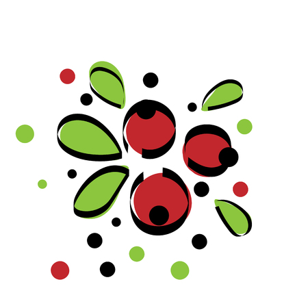 Red berries icon with leaves vector illustration