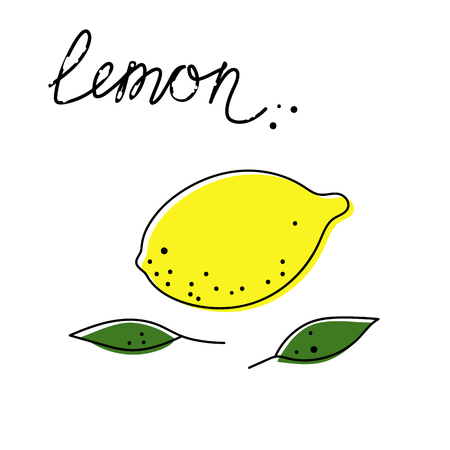 Lemon icon with leaves vector illustration on white background