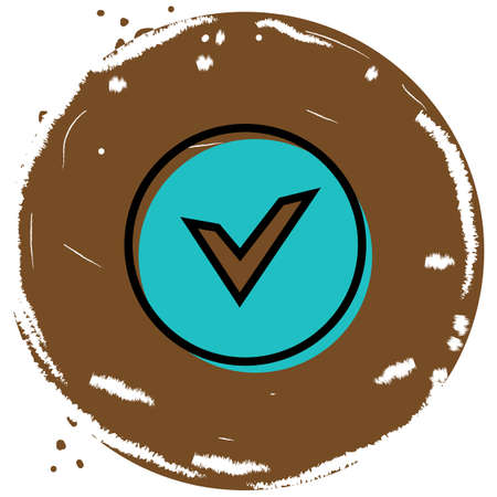Chek, ok, yes icon approved vector illustration on brown background