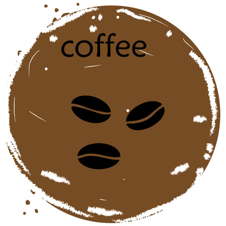 Coffee beans icon vectror illustration on brown background