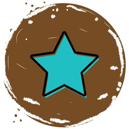 Star button icon vector illustration on brown background