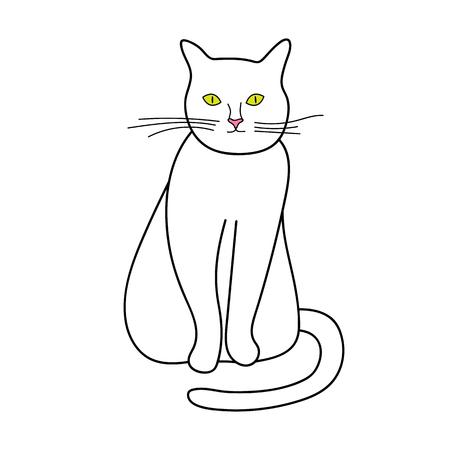 Linea di gatto icona illustrazione vettoriale su sfondo bianco Archivio Fotografico - 99918967
