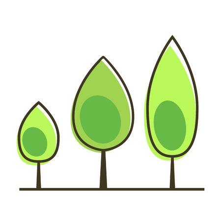 Baumikonenvektorillustration auf weißem Hintergrund