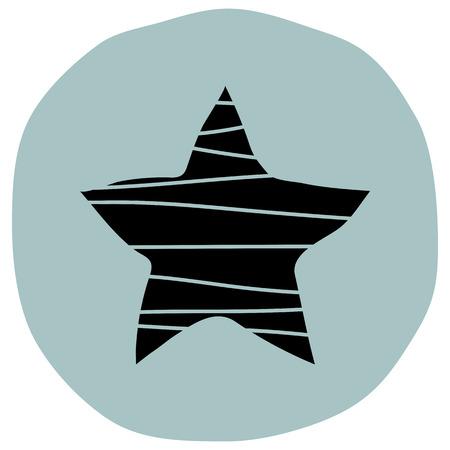 Star button icon vector illustration on blue background Illusztráció