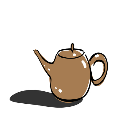 Tea pot simple line icon vector illustration on white background