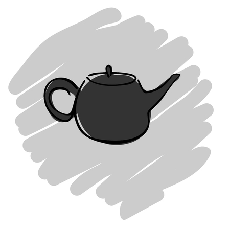 Tea pot simple line icon vector illustration on gray background. EPS10