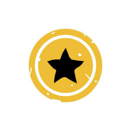 Star button icon vector illustration on yellow background