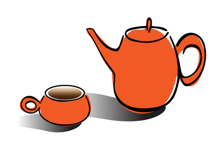 Tea pot and cup simple line icon vector illustration on white background