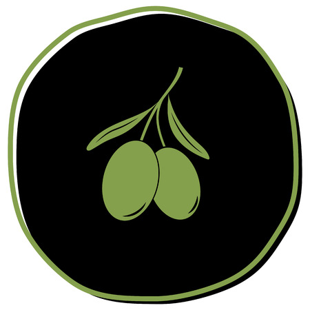 Olive icon vector illustration on black background. Eps10